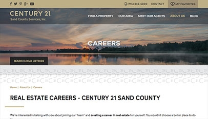 Century 21 Sand County website - Subpage