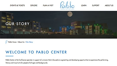 Pablo Center At The Confluence website - Subpage